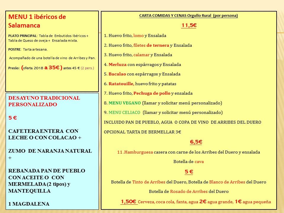 menus tradicionales